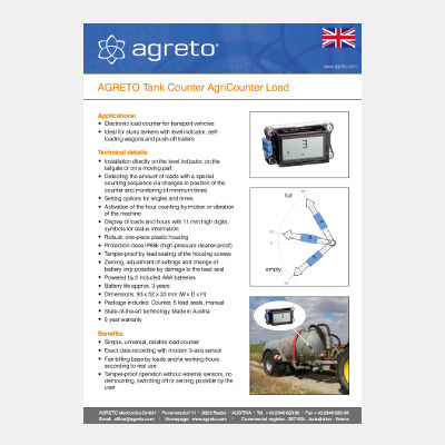 Datasheet Tank Counter Agreto AgriCounter Load