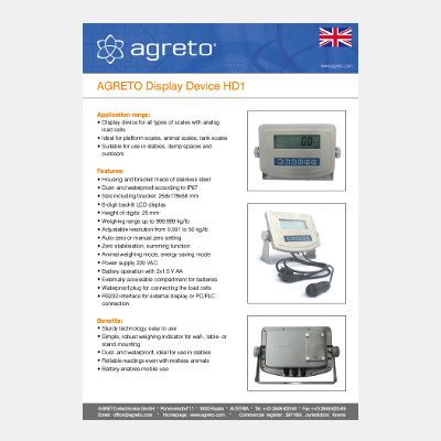 Datasheet Weight display Agreto HD1