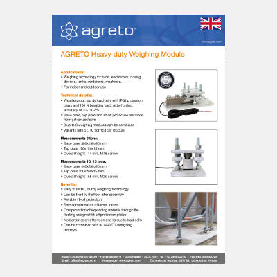 Datasheet Agreto Heavy duty weighing module