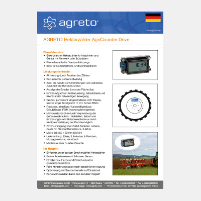 Datasheet Agreto AgriCounter Drive